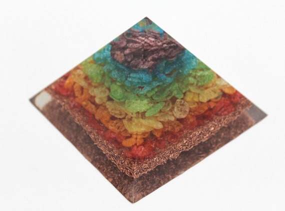 Copper Bottom Fruity Pebbles Chakra Pyramid Made out of Hand Sorted Cereal Beautiful Rainbow Wonderful Conversation Piece!  3.75X2.5 Inch