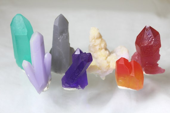 Bright Coloful Crystal Quartz Copies - Set of 7 Scepter, Twins, Fun Locations Perfect for STEM Learning Homeschool Display