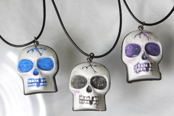 Skull Jewelry Pendants on Cords - Fun Colorful White Skulls