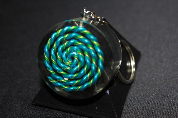 5G Spiral EMF Blocker Keychain Pocket Electrical Blocker 1.5 inch Natural Glass Obsidian Packed Great Colorful Protector Blue Green Yellow