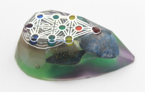 Tree of Life Sacred Geometry with ELECTRIC GREEN with Lapis, Amethyst - 2.3 inch Colorful Fun Pocket Gem Desktop Attitude Brightener