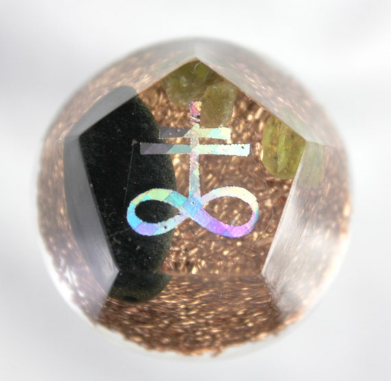 Mini Altar Orgone Energy Leviathan Cross with Copper, Quartz, Jet and Gem Peridot - 1.25 inch