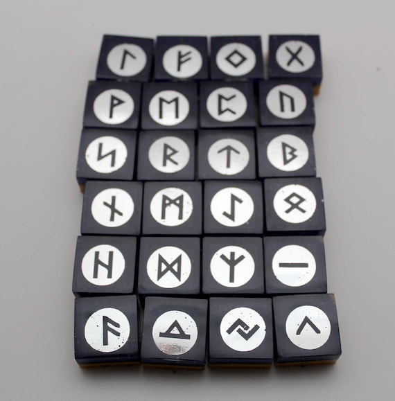 Handmade OOAK Natural Azurite with Silver Foil Elder Futhark Rune Set 24 Tiles Ready for Readings and Casting - Viking Runes Magik