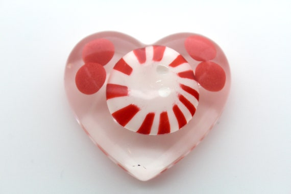 Peppermint with Cinnamon Hot Candies in a Clear Heart!  Hot Stuff!  Bright RED Food Oddities - Candy Love!  2 inch