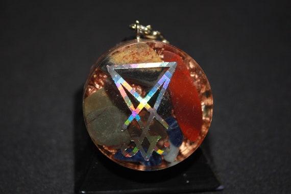 Orgone Keychain - Recycled Copper - Tumbled Quartz with Tumbled Stones - Sigil of Lucifer 1.5 inch Handmade Satanic Charm
