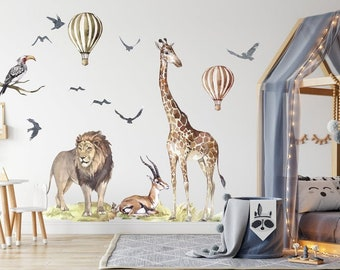 Big Animal Watercolor Wall Decal Set for kids, removable cute safari animals, Lion, Elephant nursery Stickers, Peel and stick