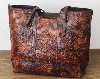 b2ffafd66c2c4 Luxury Leder Bag Genuine Leder handgefertigten Frauen Single One Shoulder  Bag Engraving Blume Geprägter Design Damen Tote Handtasche