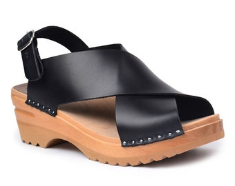 VICTORIA Super Trendy Handmade Leather Sandals Open Toe Clogs Wedge Sandals