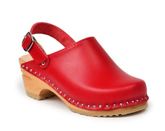 Kids Clog Sandals / Swedish Kids Clog / Red Clogs / Wooden Kid Sandal / Clogs for Kids / Troentorp Clogs / Olivia Kids Clog Red