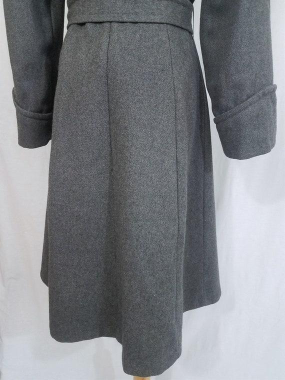1970's Grey Wool Belted Princess Coat I Sz Med - image 8