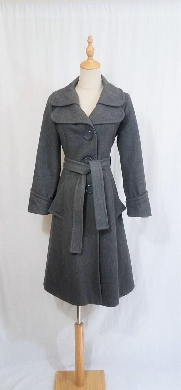1970's Grey Wool Belted Princess Coat I Sz Med - image 2