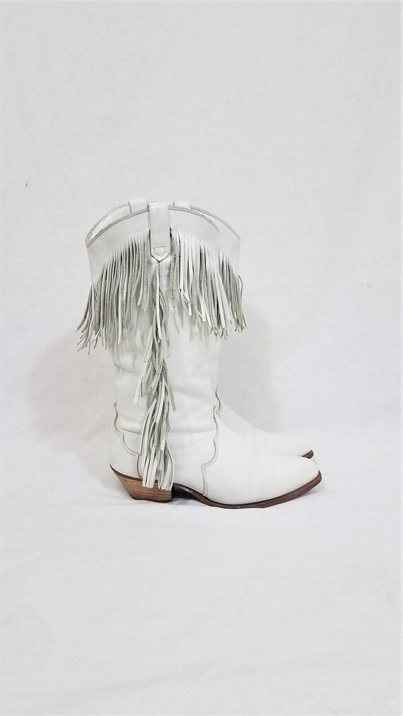 1980's Dingo White Leather Fringe Western Cowboy B