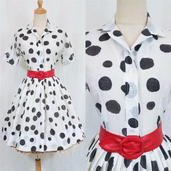 L'aiglon 1950's/60's Black Polka Dot Button Up Shi