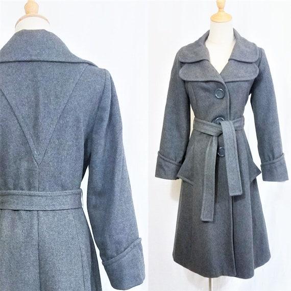 1970's Grey Wool Belted Princess Coat I Sz Med - image 1