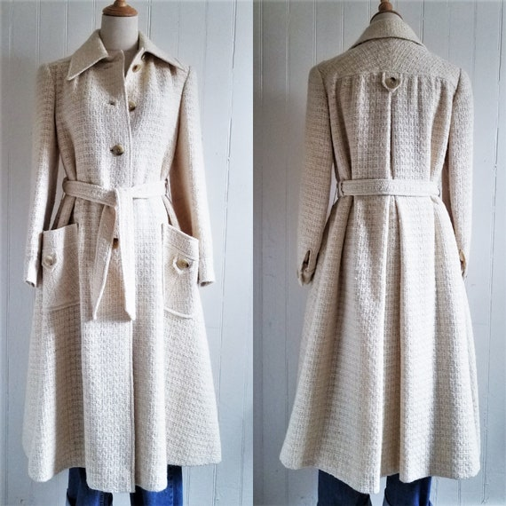 1970's Ivory Woven Wool Textured Cojana England Belted Princess Coat l Sz Med