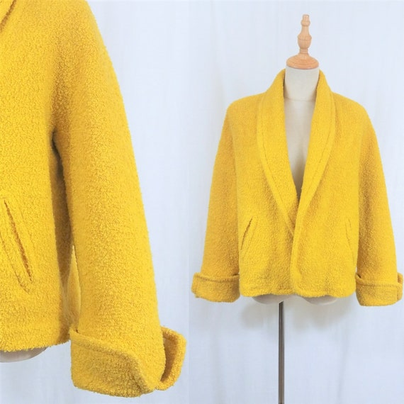 1950's Bright Yellow Nubby Wool Cropped Swing Coat
