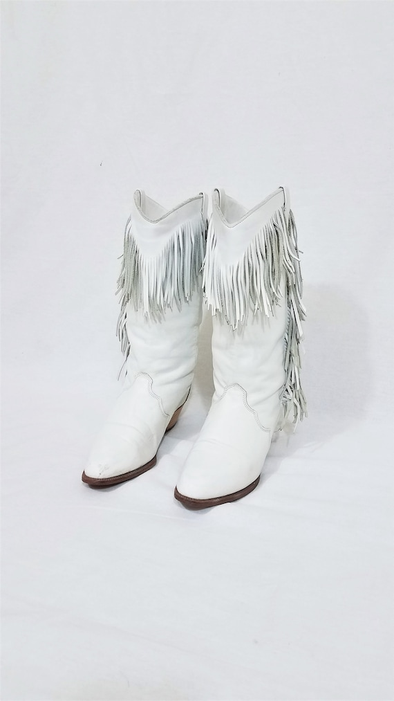 1980's Dingo White Leather Fringe Western Cowboy … - image 2