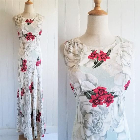 1990's Rose Print Floral Rayon Bias Cut Long Maxi