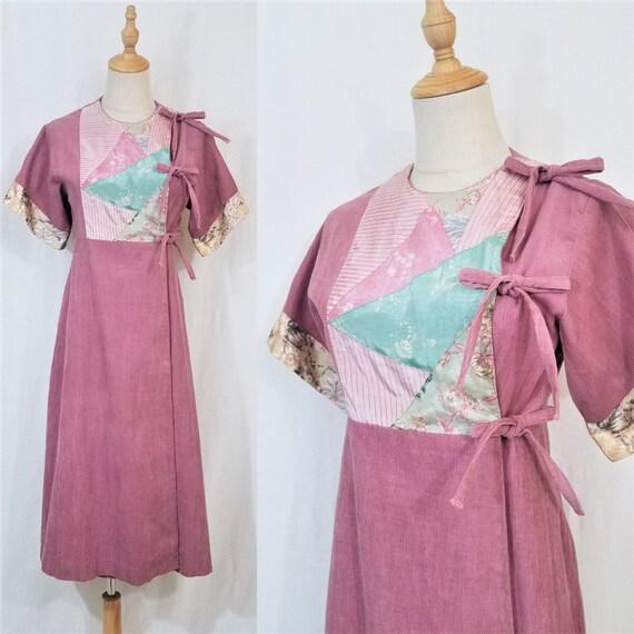 1970's Sharon's World Dusty Rose Corduroy Kimono P