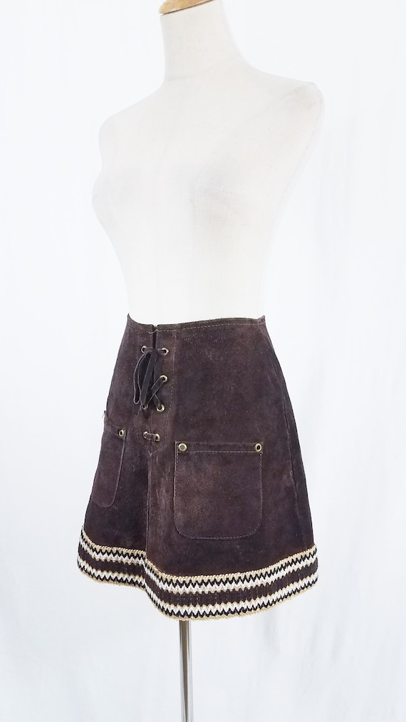 1960's Brown Suede Short Leather Hippie Mini Skirt