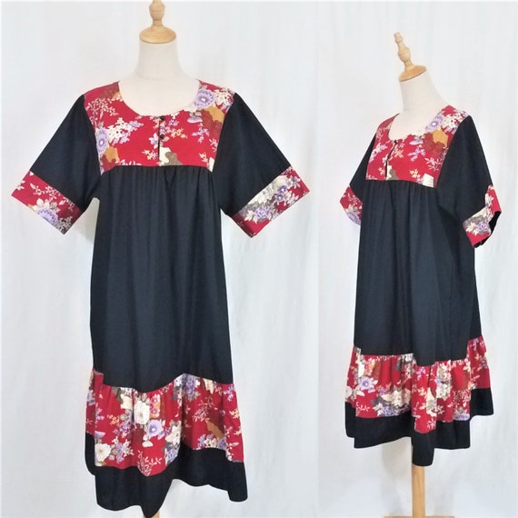 1980's Black Hawaiian Short Ruffled Muumuu Dress I