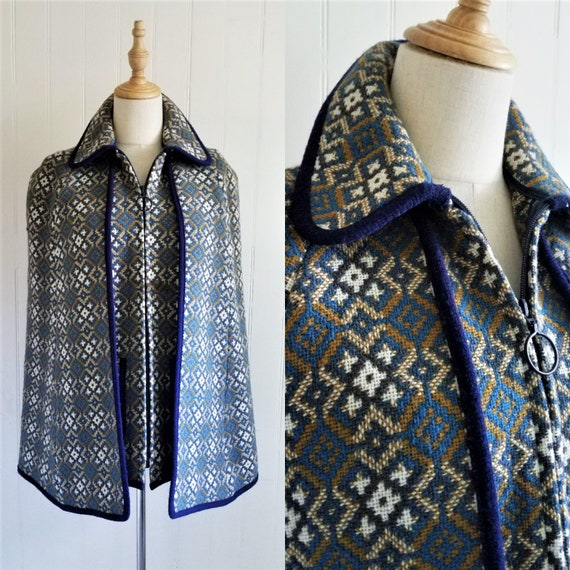Vintage 1960's Blue Welsh Tapestry Jacquard Wool 2