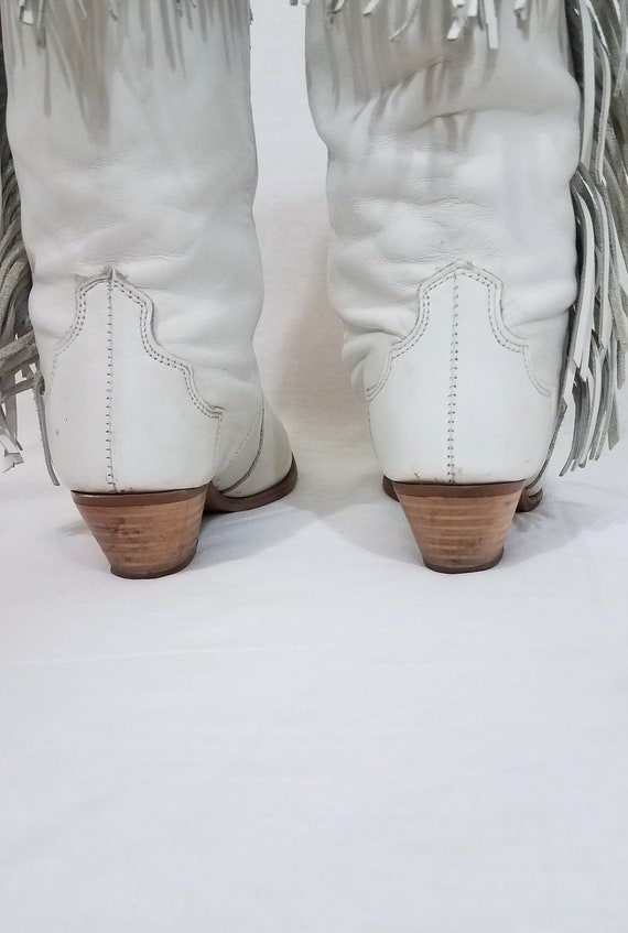 1980's Dingo White Leather Fringe Western Cowboy … - image 5