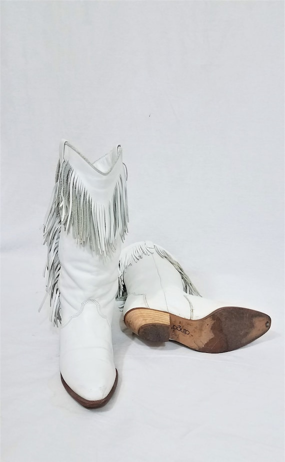 1980's Dingo White Leather Fringe Western Cowboy … - image 6