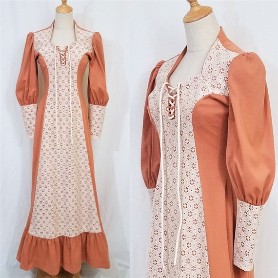 1970's Terra Cotta Lace Up Bishop Sleeve Long Poly