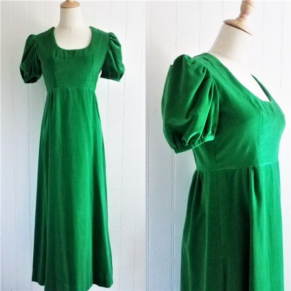 1960's Kelly Green Velvet Long Maxi Dolly Dress//P
