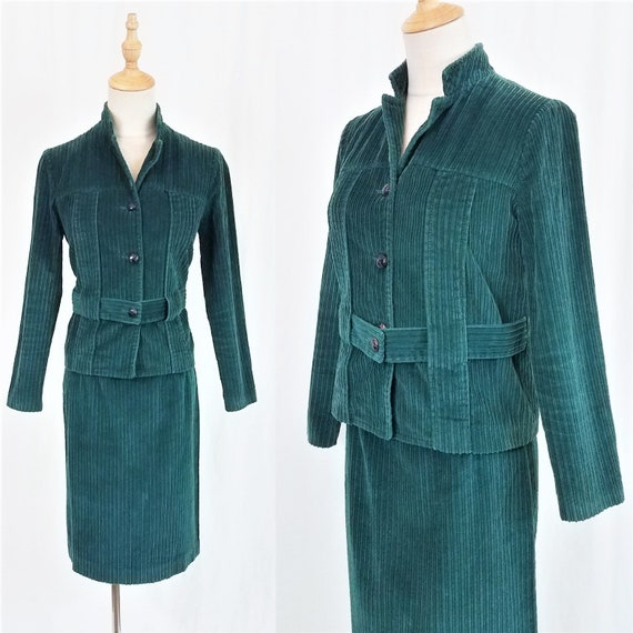 1960's Hunter Green Corduroy 2 Pc Skirt Jacket Set