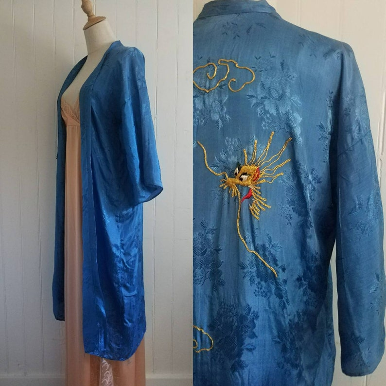 Vintage Light Blue Embossed Rayon RobeJacketDusterCoat with Metallic Embroidered Dragon Med Sz