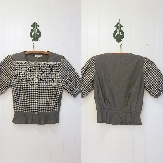 1980's Cotton Gingham French Chaleur Eyelet Blouse
