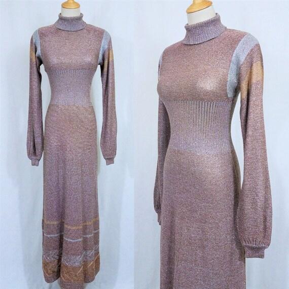 1970's Metallic Bronze Lurex Long Maxi Dress I Sz