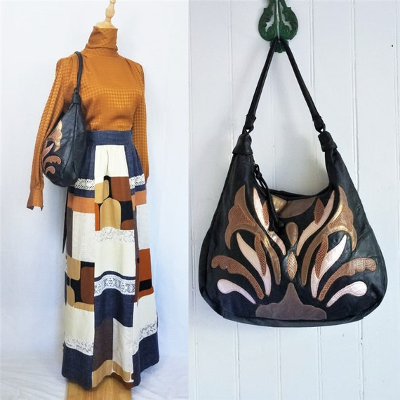 1980's Large Black Patchwork Pleather Hobo Bag Pur