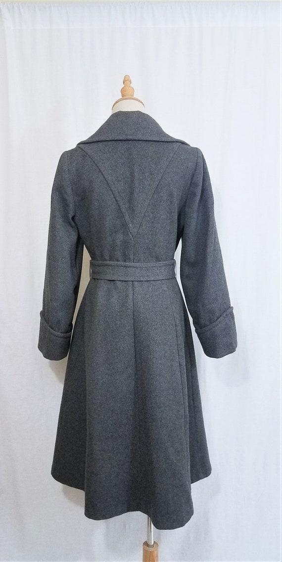 1970's Grey Wool Belted Princess Coat I Sz Med - image 6