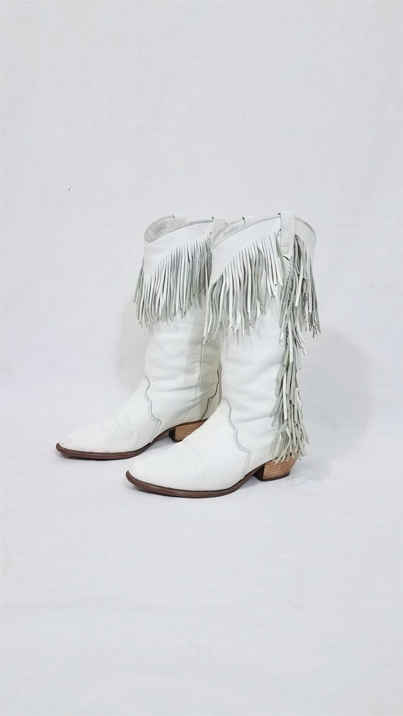1980's Dingo White Leather Fringe Western Cowboy … - image 3