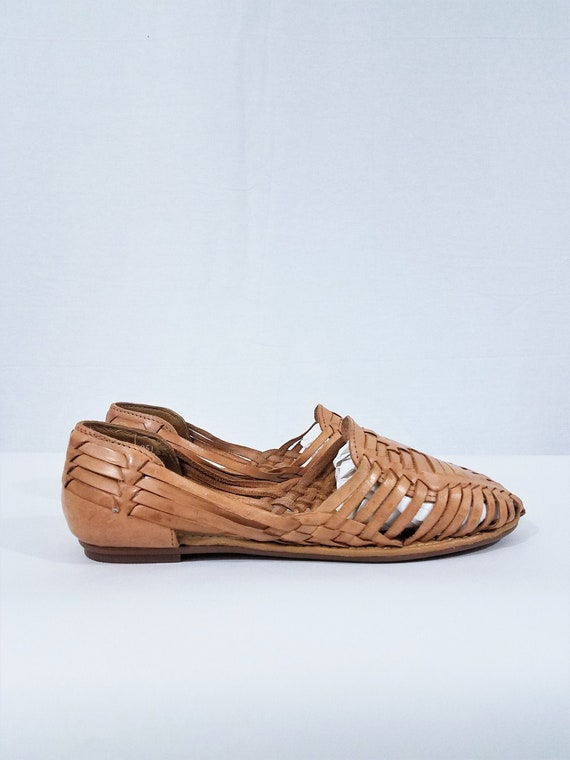 1980's Tan Leather Woven Mexican Huarache Sandals