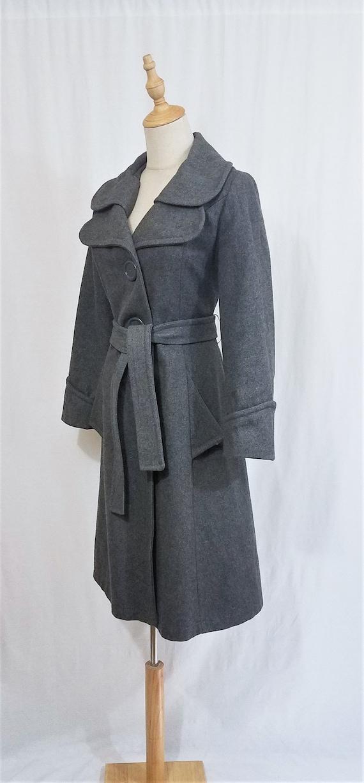 1970's Grey Wool Belted Princess Coat I Sz Med - image 5