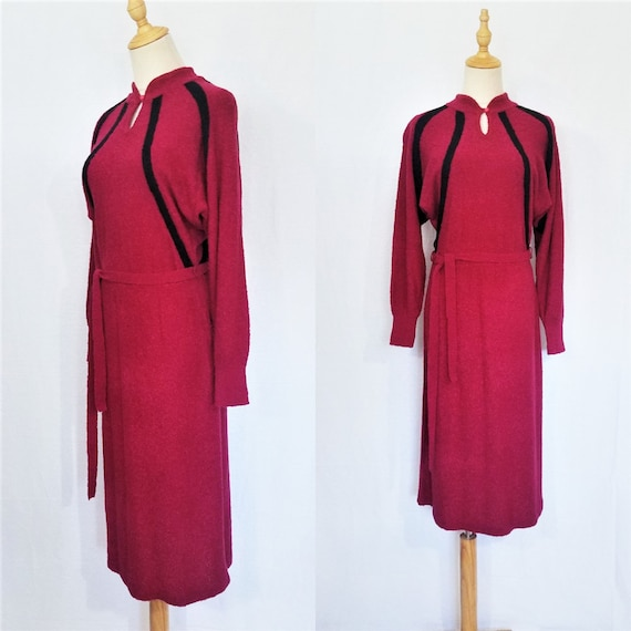 1970's Raspberry Red Boucle Knit Sweater Dress I J
