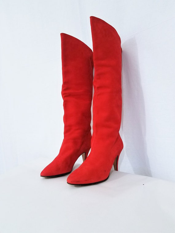 1980's Tomato Red Tall Suede Italian Leather Stile