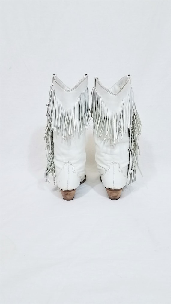 1980's Dingo White Leather Fringe Western Cowboy … - image 4