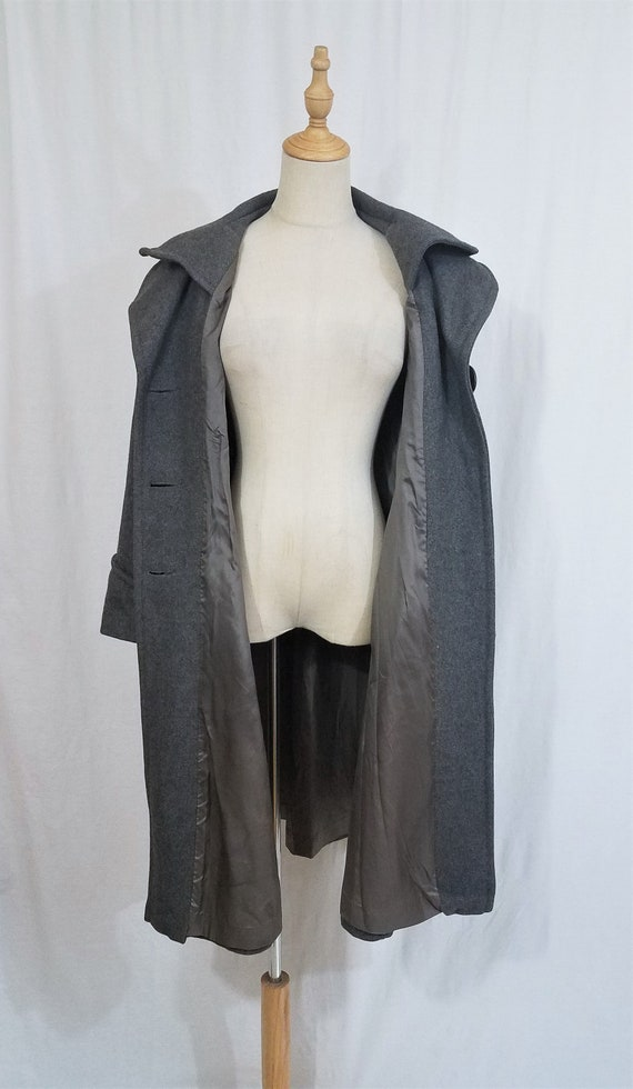 1970's Grey Wool Belted Princess Coat I Sz Med - image 9