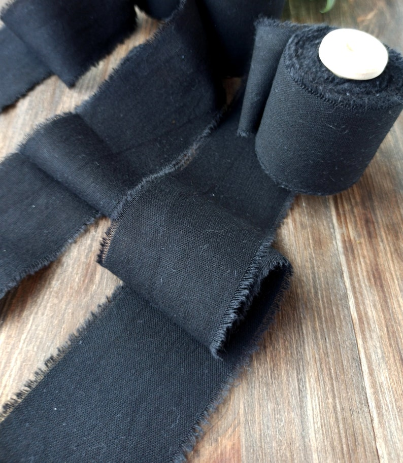 Cotton ribbon black Ribbon for bouquet Hand torn ribbon Wedding ribbon invitation