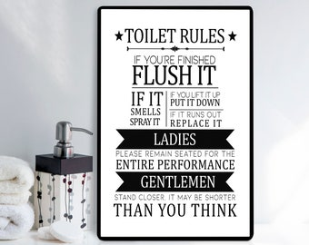 Toilet rules sign | Etsy