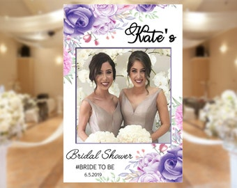 b5cabf63110c Bridal Photo Booth Frame • Bridal Shower Photo Prop • Frame Photo Booth  Prop • Wedding Photo Booth Frame • Purple Watercolor Floral