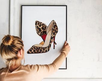5670c5674c3 Leopard shoe art | Etsy