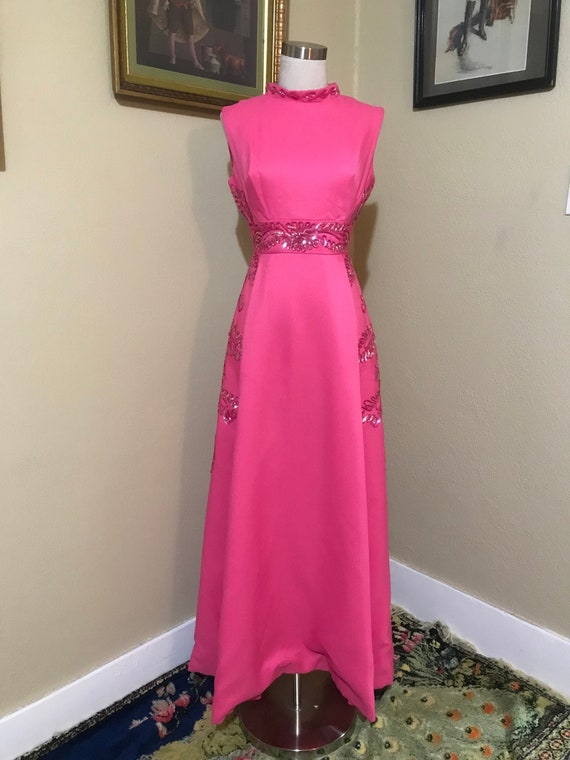 60/70's Pink Sequined Gown
