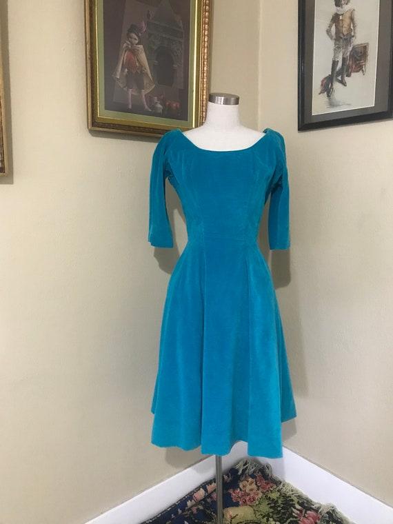 1950s blue Velvet Dress