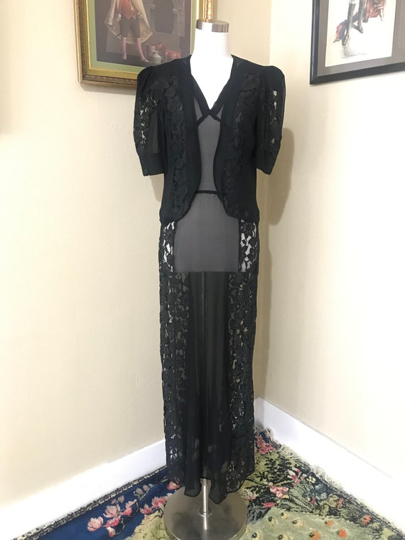 1940's/40's Black Sheer Nightgown